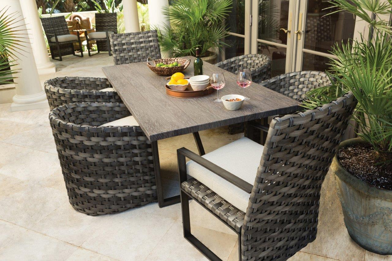 ebel allegre outdoor woven and aluminum dining group
